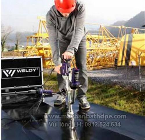 Máy hàn đùn Weldy Booster EX3 Thi công hàn bạt HDPE chống thấm bãi xử lý rác