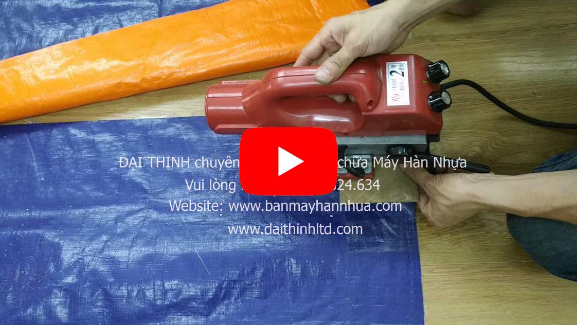 Video máy hàn bạt nhựa che mưa nắng, hàn bạt 2 da xanh cam
